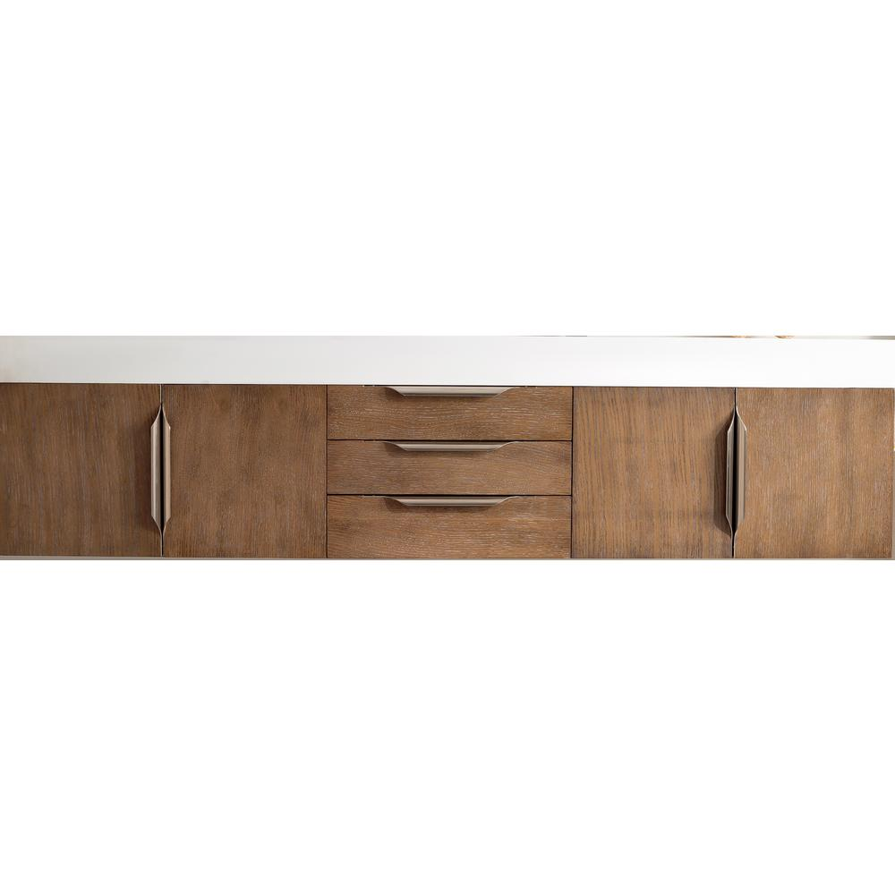 James Martin Signature Vanities Mercer Island 72 in. W Double Bath Vanity in Latte Oak with Solid Surface Vanity Top in Matte White with White Basin