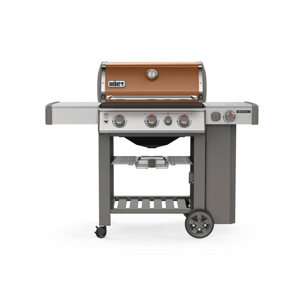 Weber Genesis II E-330 3-Burner Propane Gas Grill in Copper with Built-In Thermometer and Side Burner