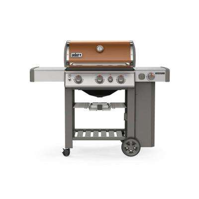 Genesis II E-330 3-Burner Propane Gas Grill in Copper with Built-In Thermometer and Side Burner