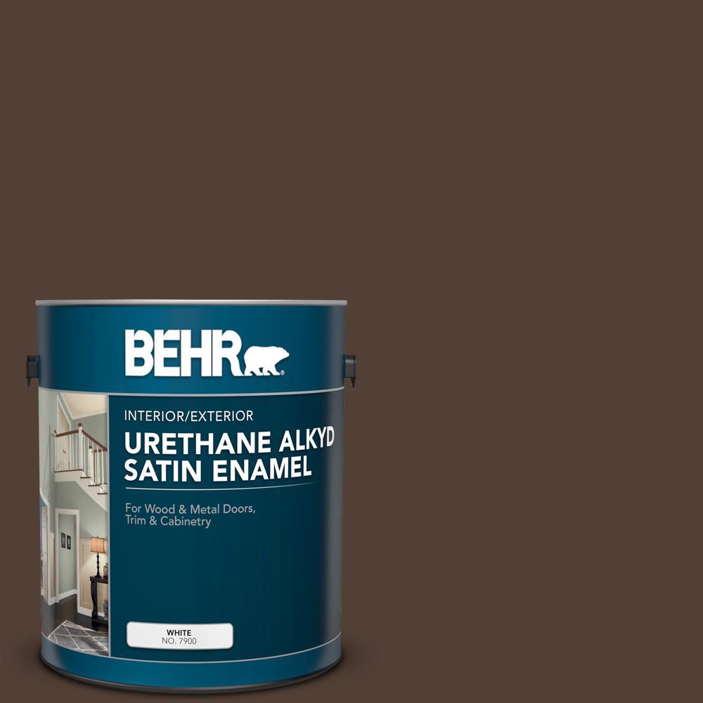 BEHR 1 gal  #BNC-21 Double Espresso Urethane Alkyd Satin Enamel  Interior/Exterior Paint