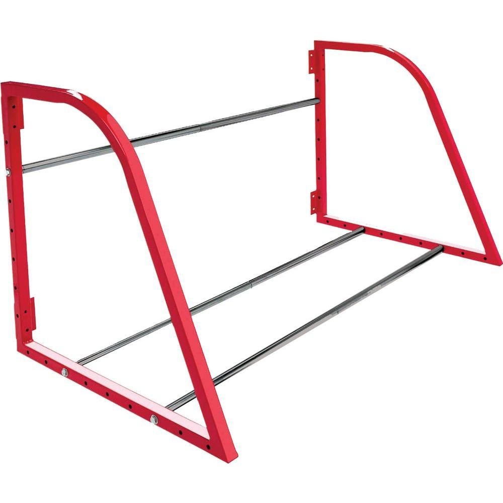 48 in. W Adjustable Garage Wall Tire Rack in Red