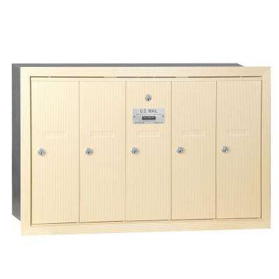 Sandstone Recessed-Mounted USPS Access Vertical Mailbox with 5 Doors