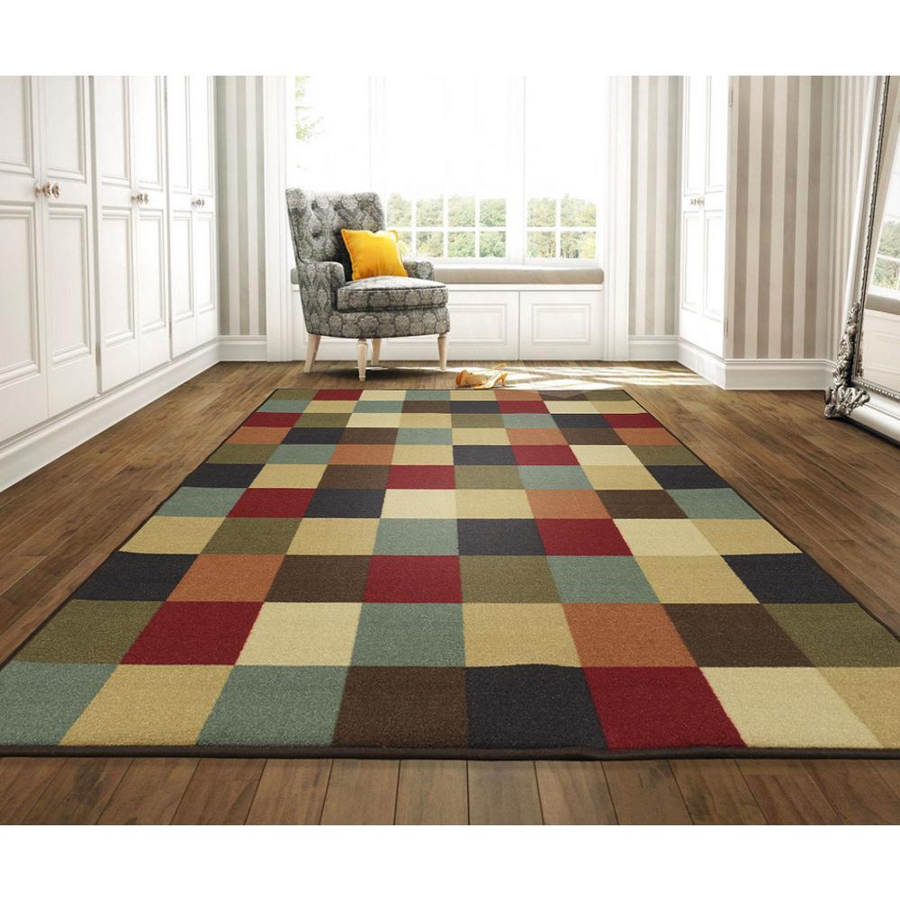 Checkerboard Rug: Ottomanson Checkered Design Multi 8 Ft. 2 In. X 9 Ft. 10