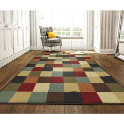Ottohome Collection Contemporary Checkered Design Multicolor 8 ft. X 10 ft. Area Rug