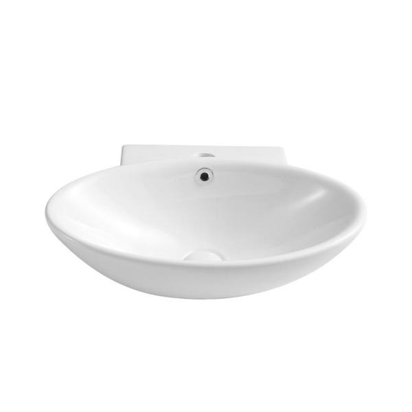 Boyel Living 20 5 In White Above Counter Ceramic Oval Wall Mounted Vessel Sink With Pop Up Drain Faucet Hole And Overflow Ys Bathsnik 084 The Home Depot