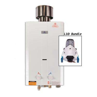 Eccotemp L10 3.0 GPM Portable 75,000 BTU Liquid Propane Outdoor Tankless Water Heater with Flojet Water Pump