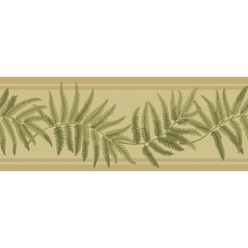 The Wallpaper Company 12.81 sq. ft. Design by Color Summer Ferns Border Yellow/Green Wallpaper-DISCONTINUED