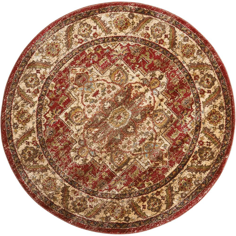 nourison delano brick 5 ft 3 in round area rug370969 the home depot