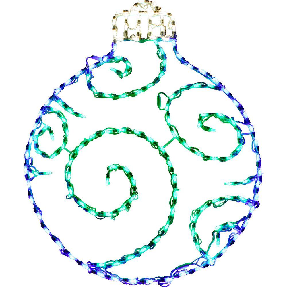 3 ft. 156-Light LED Blue/Green Round Ornament Novelty Light