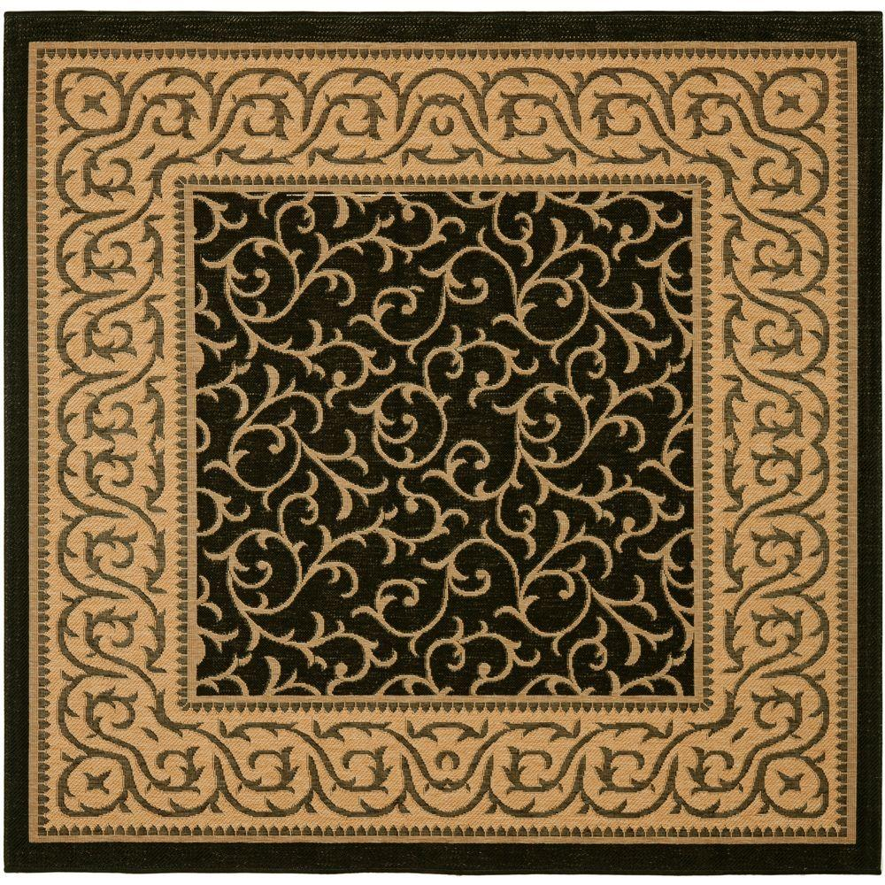 Safavieh Courtyard Black Natural 7 Ft X 7 Ft Indoor Outdoor Square