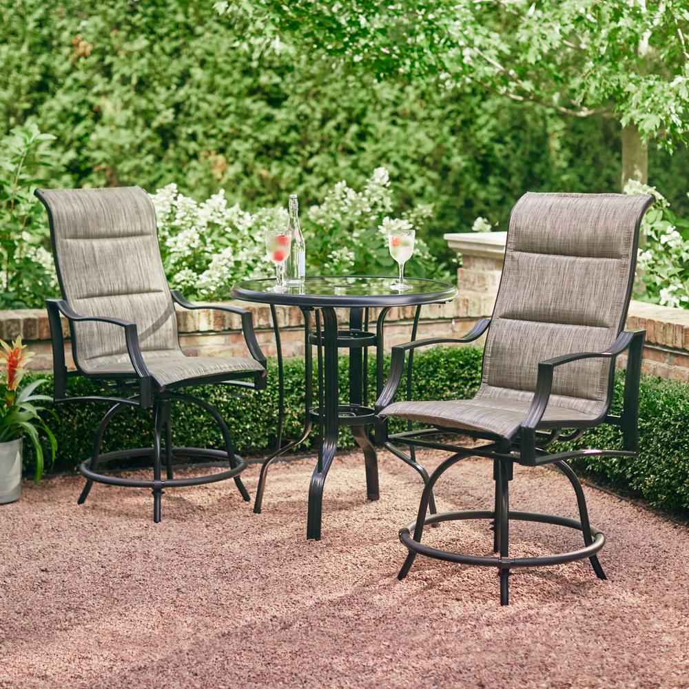 hampton bay statesville pewter 3 piece outdoor balcony height dining rh homedepot com outdoor furniture small balcony outdoor furniture balcony sets
