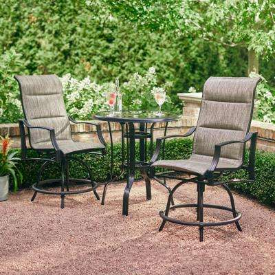 Statesville Pewter 3-Piece Outdoor Balcony Height Dining Set - Hampton Bay - Metal Patio Furniture - Bistro Table - Bar Height