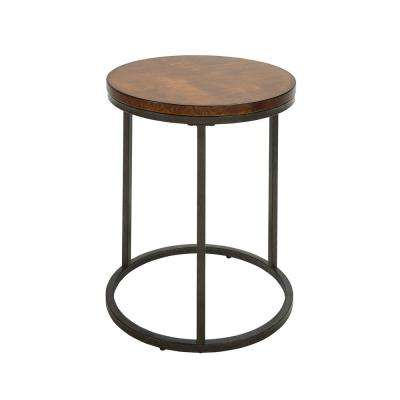 Kinston Chestnut and Industrial Wood Top Accent Table