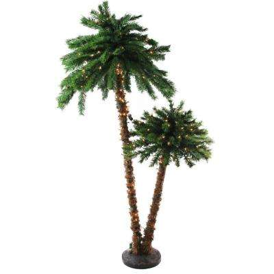 6 ft. Pre-Lit Tropical Palm Tree Artificial Christmas Tree and Clear Lights