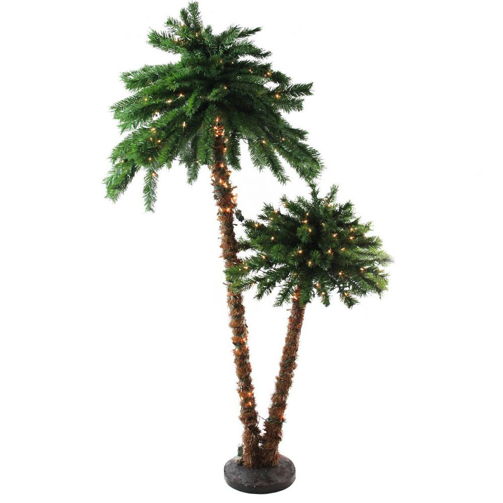 Palm Tree Lights Christmas.Northlight 6 Ft Pre Lit Tropical Palm Tree Artificial Christmas Tree And Clear Lights
