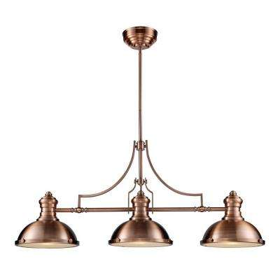 Chadwick 3-Light Antique Copper Ceiling Mount Island Light