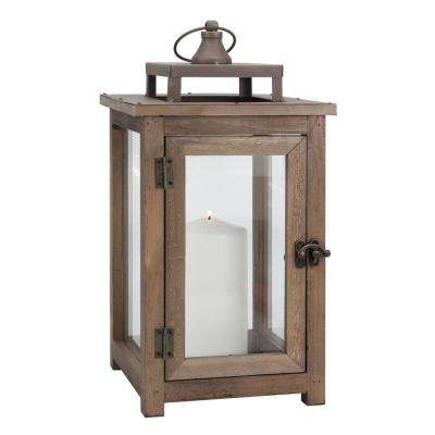 14 in. Rustic Natural Wood Candle Lantern