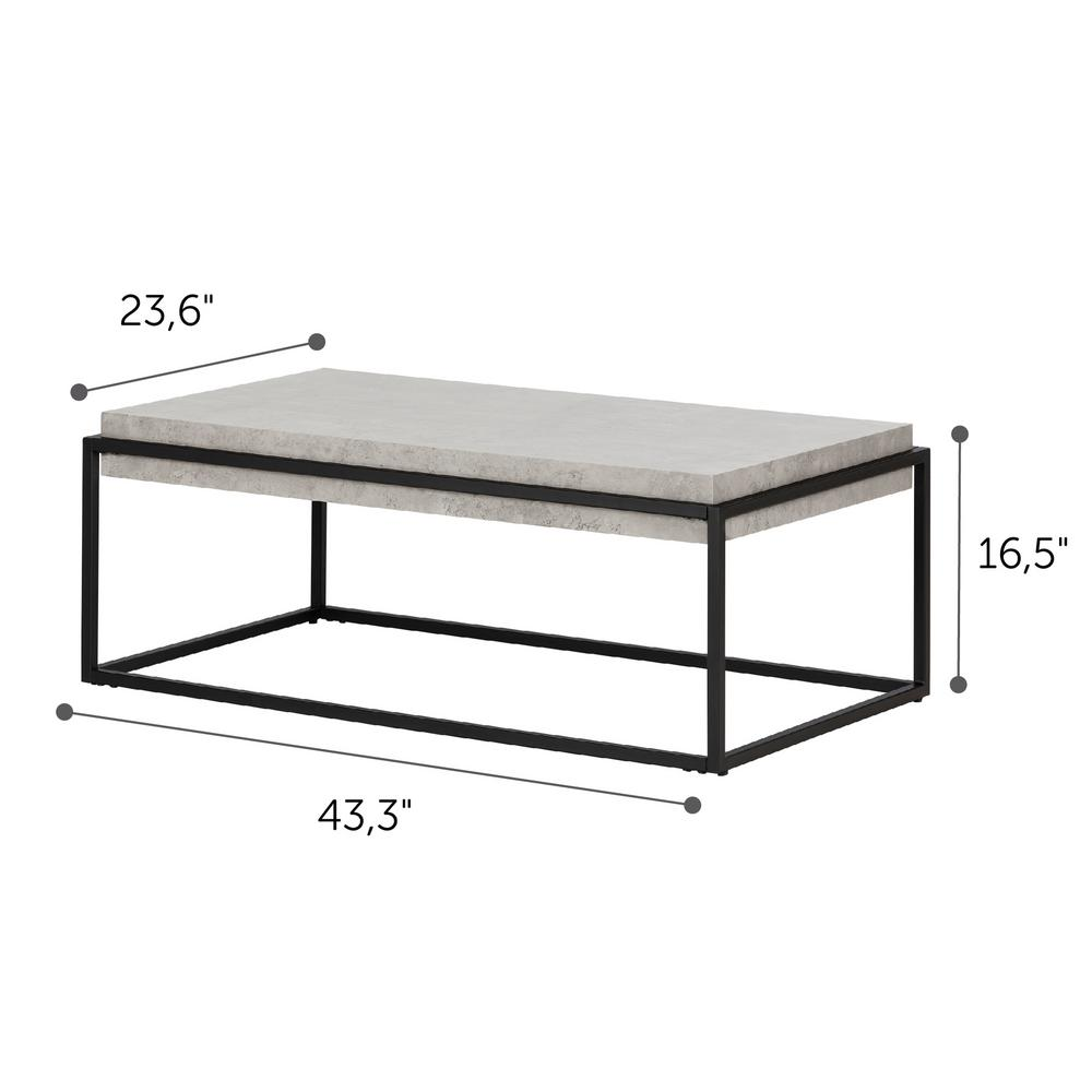 Ordinaire South Shore Mezzy Concrete Gray And Black Coffee And End Table 12066   The  Home Depot