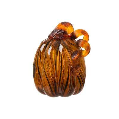 6 in. H Pumpkin Striped Glass
