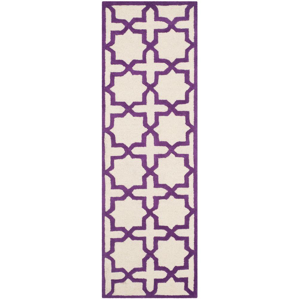 Cambridge Ivory/Purple 2 ft. 6 in. x 8 ft. Runner