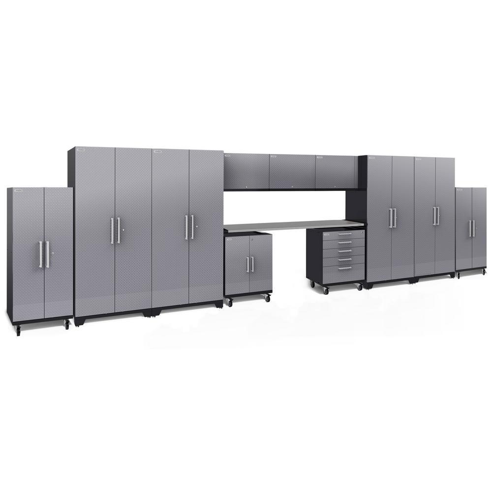 Performance Plus Diamond Plate 2.0 80 in. H x 289 in. W x 24 in. D Garage Cabinet Set in Silver (12-Piece)