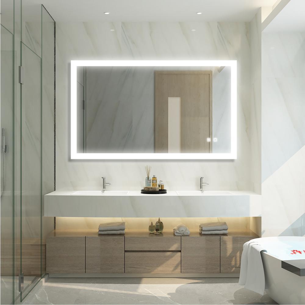 40 in. W x 24 in. H Frameless Rectangular LED Light Bathroom Vanity Mirror in White