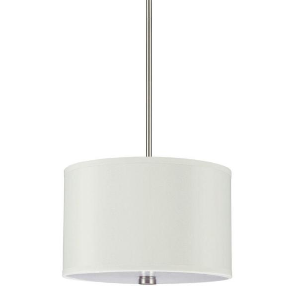 Sea Gull Lighting Dayna Collection 2-Light Brushed Nickel Shade Pendant with Faux Silk Shade