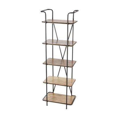 15 in. L x 23 in. W Industrial Wood and Iron 5-Tier Shelf