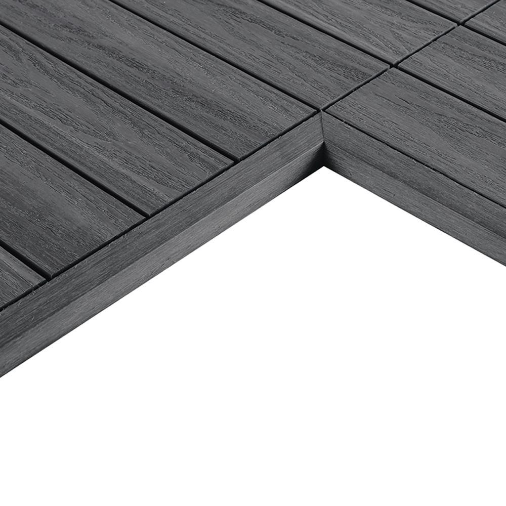 1/6 ft. x 1 ft. Quick Deck Composite Deck Tile Inside Corner Trim in Westminster Gray (2-Pieces/Box)