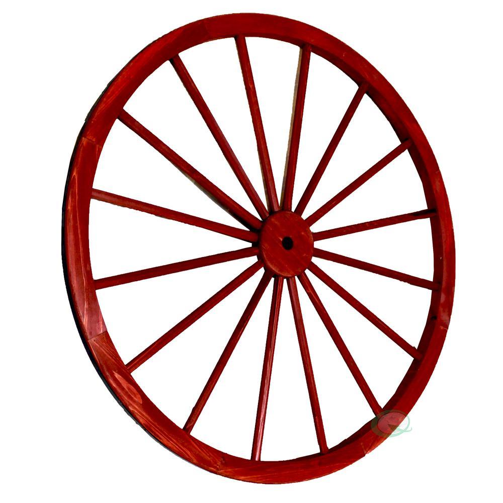 42 in. x 1.4 in. Decorative Antique Red Wagon Garden Wheel