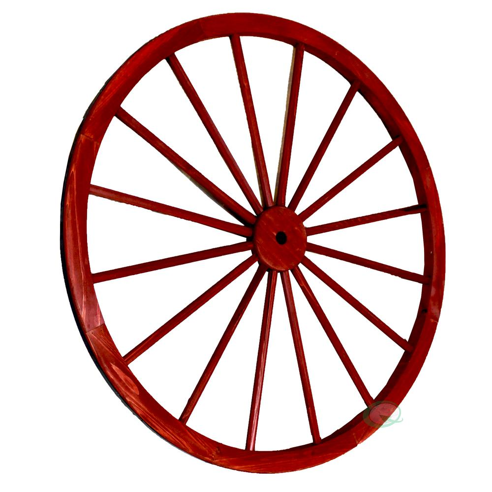 42 in. x 1.4 in. Decorative Antique Red Wagon Garden Wheel