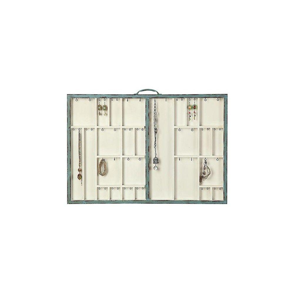 Home Decorators Collection Jolie 32 in. Turquiose 26-Compartment Wall Jewelry Holder