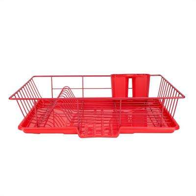 3-Piece Dish Drainer Set in Red