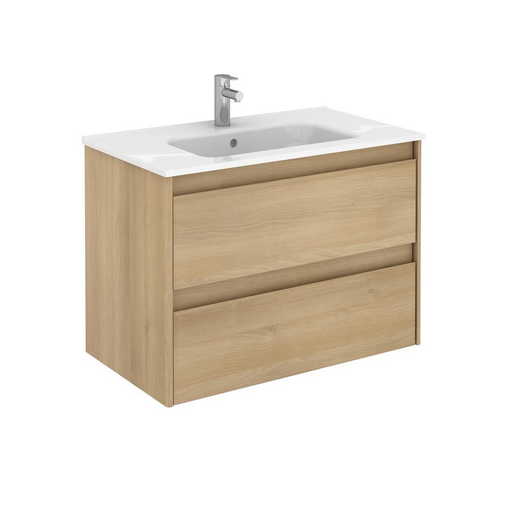 Ambra 31.6 in. W x 18.1 in. D x 22.3 in. H Bathroom Vanity Unit in Nordic Oak with Vanity Top and Basin in White