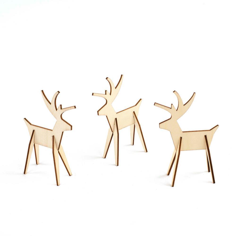 Design Ideas 3 In Christmas Alpine Reindeer Decorations Natural 8 Piece