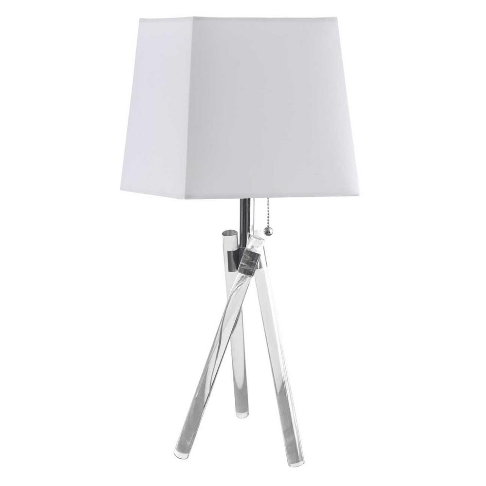 20.75 in. H 1-Light Clear Table Lamp with Laminated Fabric Shade