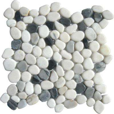 Black/White Pebbles 12 in. x 12 in. x 10 mm Marble Mesh-Mounted Mosaic Tile