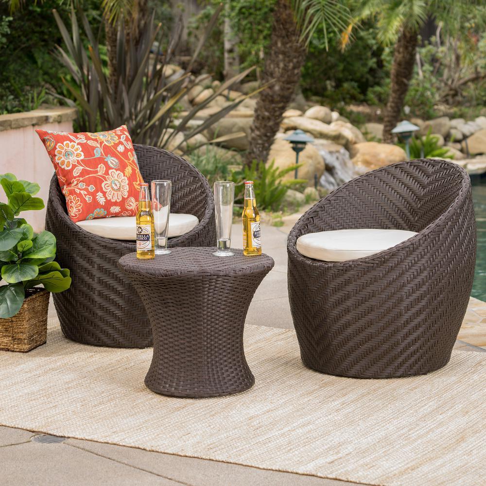 La Jolla Brown 3-Piece Wicker Patio Conversation Set with Tan Cushions