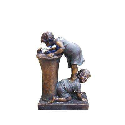 Boy and Girl Drinking Water Fountain with LED Light