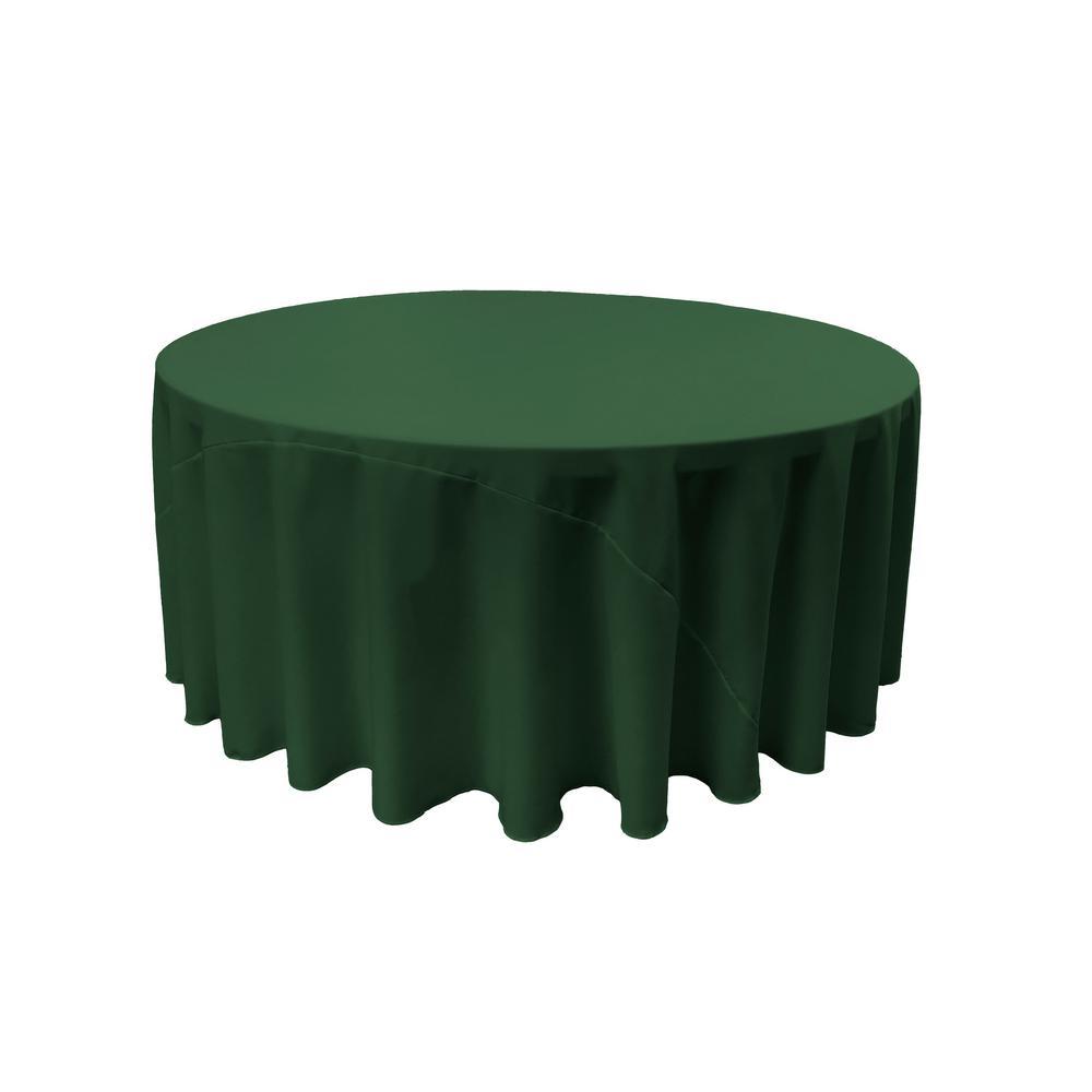 LA Linen 120 in. Hunter Green Polyester Poplin Round Tablecloth