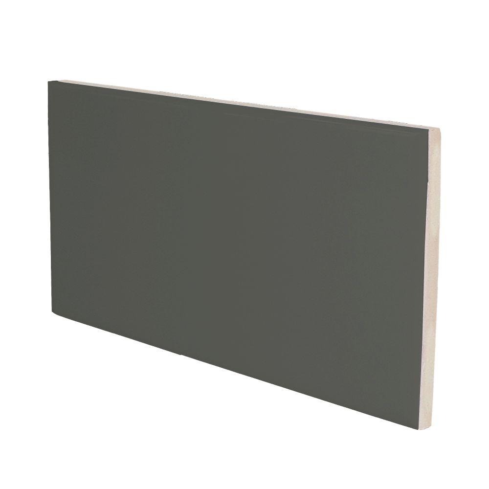 U.S. Ceramic Tile Color Collection 3 in. x 6 in. Bright Dark Gray Ceramic Wall Tile with a 3 in. Surface Bullnose-DISCONTINUED