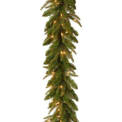 9 ft. Feel-Real Fraser Grande Artificial Garland with 100 Clear Lights