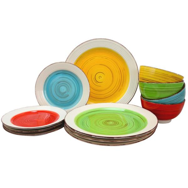 Confetti Band 12-Piece Rustic Assorted Ceramic Dinnerware Set (Service for 4)