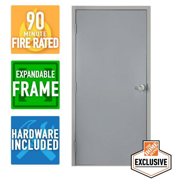 36 in. x 80 in. Right-Hand Galvanneal Steel Mill Primed Commercial Door Kit with 90 Minute Fire Rating, Adjustable Frame