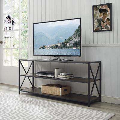 60 in. X-Frame Metal and Wood Console Table in Dark Walnut