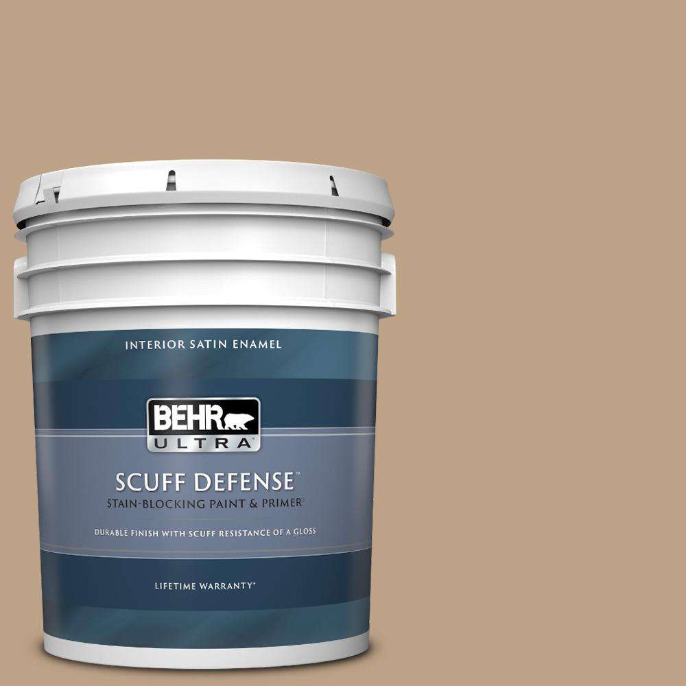 Behr Ultra 5 Gal Ppu4 05 Basketry Extra Durable Satin Enamel Interior Paint And Primer In One 775405 The Home Depot