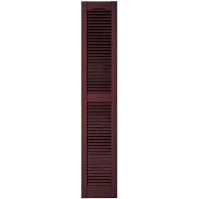 12 in. x 64 in. Louvered Vinyl Exterior Shutters Pair in #167 Bordeaux