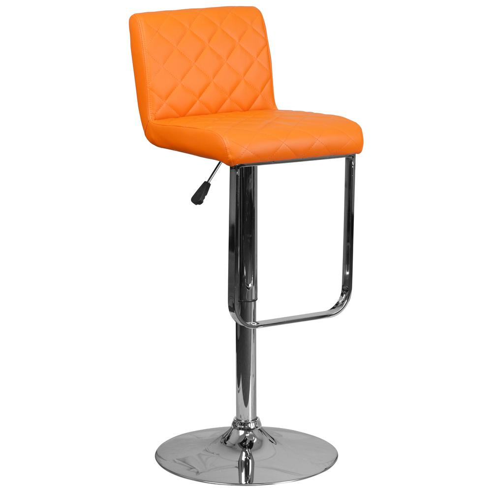 Adjustable Height Orange Cushioned Bar Stool