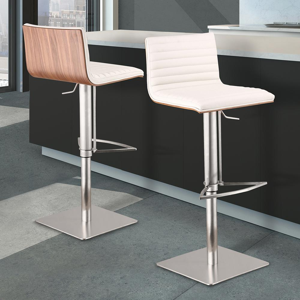 Armen Living Cafe 31 41 In. White Faux Leather With Brushed Stainless Steel  Finish