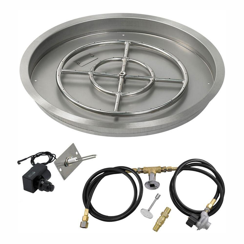 American Fire Glass 25 in. Round Stainless Steel Drop-In Fire Pit Pan with Spark Ignition Kit - Propane (18 in. Ring Burner Included)